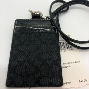NWT COACH Black Signature C Lanyard/Card Holder